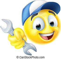 blikkenslager, mekaniker, skruenøgl, ikon, eller, emoji, emoticon