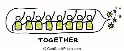 blive, affects, hver, viral, dont, positiv, ophold, grafik, hensynsfulde, worl, infographic., everyone., banner, vid, corona, virus, pandemic, hjælp, covid, hæfte, stickman, anden, plakat, berøring, 19, art, art., samfund understøtt