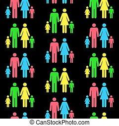 blive, forskellige, mønster, seamless, nogen, besteget, person, gentagen, color.(can, silhuetter, size)