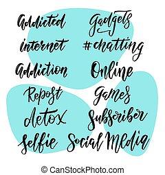blog, internet, hånd, talemåder, hang, omkring, væv, abonnere, ligesom, dele, sæt, typographic, repost, handwritten, stickers., posts., sociale, indskrifter, tekstning, medier, calligraphic