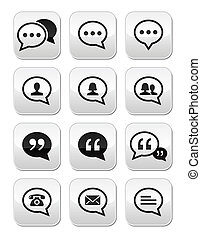blog, knapper, kontakt, tale boble