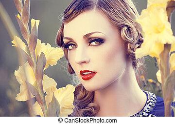 blomst, kvinde, felt, smukke