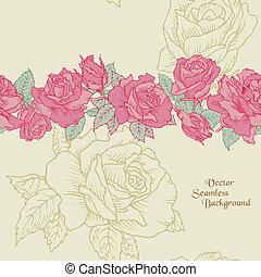 blomst, -, seamless, hånd, roser, vektor, baggrund, stram