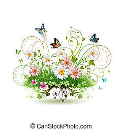 blomster, græs