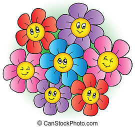 blomster, gruppe, cartoon