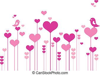 blomster, hjerte, fugle