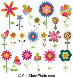blomster, retro