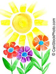 blomster, sol