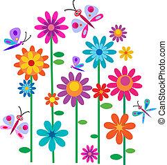 blomster, springtime, sommerfugle
