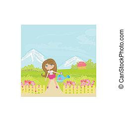 blomster, vanding, pige, illustration