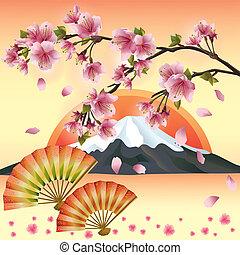 blomstre, kirsebær, -, japansk, træ, sakura, baggrund