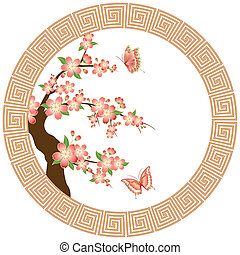 blomstre, kirsebær, tapet, orientalsk