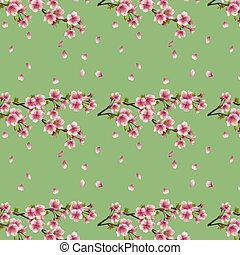 blomstre, kirsebær træ, seamless, sakura, baggrund