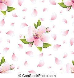 blomstre, mønster, seamless, kronblade, sakura, baggrund