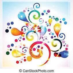 blomstrede, abstrakt, farverig