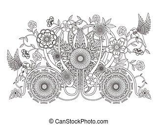 blomstrede, carriage, coloring, voksen, side