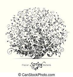 blomstrede, forår, elementer
