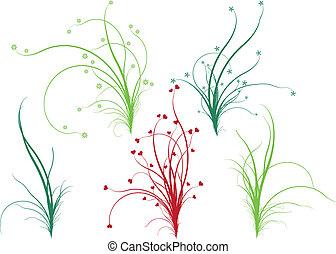 blomstrede, græs, vektor
