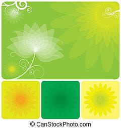 blomstrede, grøn baggrund