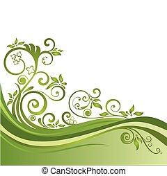 blomstrede, grønne, banner, isoleret
