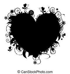 blomstrede, hjerte form, konstruktion, din