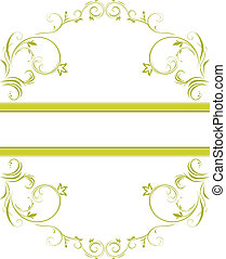 blomstrede, ornamental, ramme, grønne