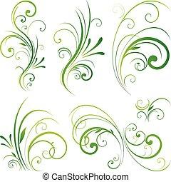 blomstrede, ornamentere, scroll