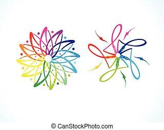 blomstrede, regnbue, abstrakt, multipel, kunstneriske