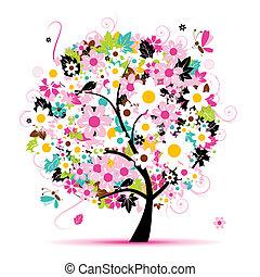blomstrede, sommer, konstruktion, træ, din