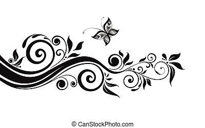 blomstrede, sort, grænse