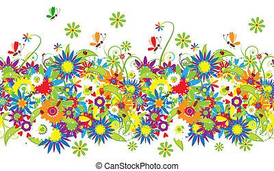 blomstret bouquet, illustration, sommer