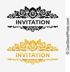 blomstret dekoration, invitation