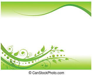 blomstret grænse, grønne, illustration