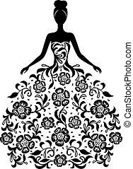 blomstret klæde, pige, ornamentere, silhuet