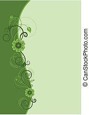 blomstret konstruktion, 2, grænse, grønne