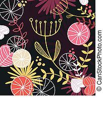 blomstret mønster, retro, baggrund