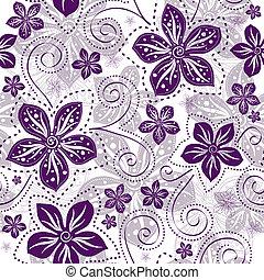 blomstret mønster, seamless, white-violet
