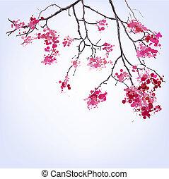 blots, baggrund, forår, sakura, branch, blooming