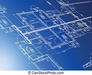 blueprints, arkitektoniske, udsnit