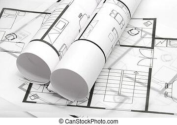 blueprints, arkitektur