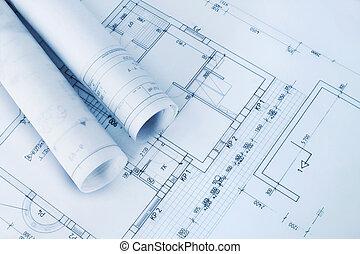 blueprints, konstruktion, plan