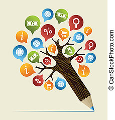blyant, begreb, studier, træ, forskning