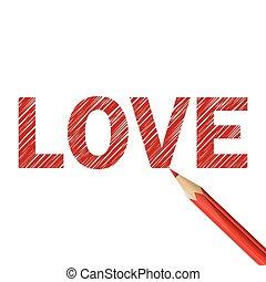 blyant, glose, rød, constitutions, stram