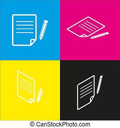 blyant, isometric, tegn., gul, magenta, avis, sort, fremspringet, vector., backgrounds., hvid, cyan, ikon