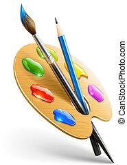 blyant, palette, kunst, maling børst, redskaberne, affattelseen