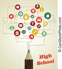 blyant, skole, netværk, tilbage, icons., sociale, undervisning