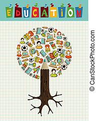 blyant, træ., undervisning, iconerne
