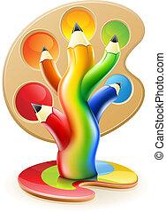 blyanter, begreb, kunst, farve, træ, kreative