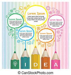 blyanter, farverig, kreative, infographic, skabelon, linje drage