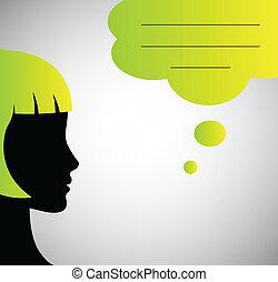 boble, abstrakt, tale, silhuet, taler